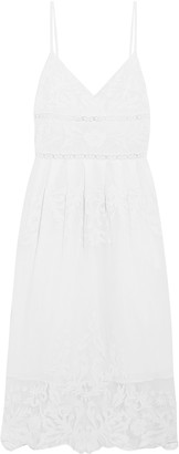 Sea Pleated Embroidered Crocheted Cotton Dress