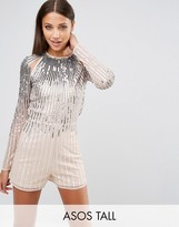 ASOS Tall ASOS TALL NIGHT Ombre Sequin Romper With Cut Outs