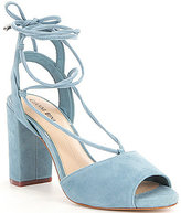 Gianni Bini Keelin Suede Block Heel Lace-Up Sandals