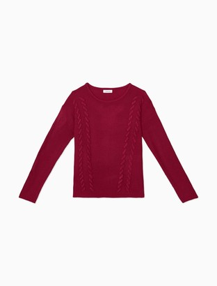 Calvin Klein Ribbed Lace-Up Pullover Sweater
