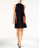 INC International Concepts Mock-Neck Mixed-Media Dress, Only at Macy's