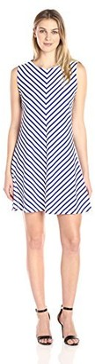 Tiana B T I A N A B. Women's Sleeveless Mitered Stripe Textured Trapeze Dress with Back Exposed Zipper Navy/White XL