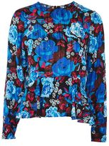 Topshop Bright '80s floral print peplum top