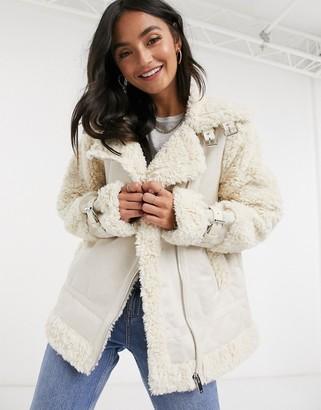 Urban Bliss faux sherling aviator jacket in cream