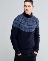 Pretty Green Sweater With Roll Neck And Nordic Pattern In Slim Fit Black