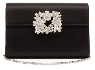 Roger Vivier Bouquet Crystal-embellished Satin Shoulder Bag - Black