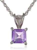 Sigal Style Sterling Silver 6mm Square-Cut Amethyst Pendant Necklace