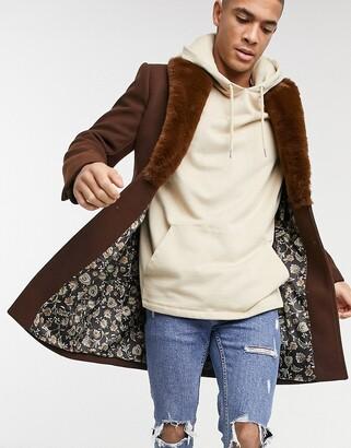 Gianni Feraud faux-fur collar overcoat