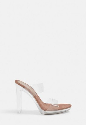 Missguided Nude Double Strap Clear Heels