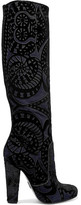 Paul Andrew Elder Appliquéd Suede Knee Boots - Black
