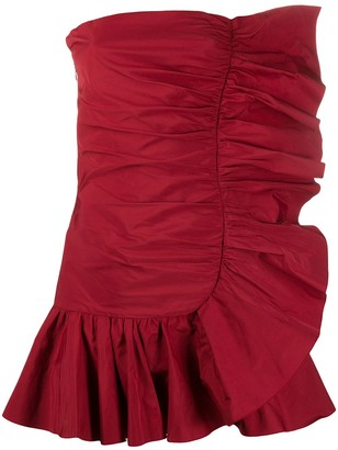 RED Valentino Strapless Ruffle Trim Mini Dress
