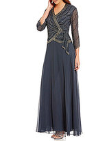 J Kara V-Neck 3/4 Sleeve Beaded Faux-Wrap Chiffon Gown