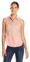 Anne Klein Women's Floral Lace Combo Shirt
