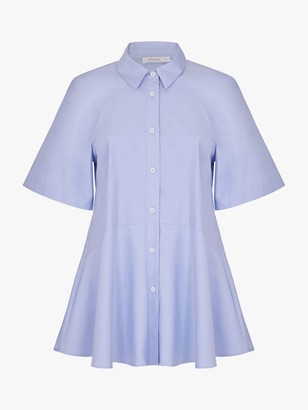 Finery Brynn Peplum Hem Bell Sleeves Cotton Poplin Shirt, Light Blue