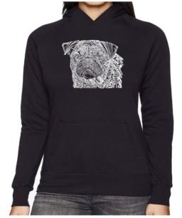 La Pop Art Women's Word Art Hooded Sweatshirt - Pug Face