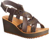Antelope Gray Embellished Crisscross Leather Sandal