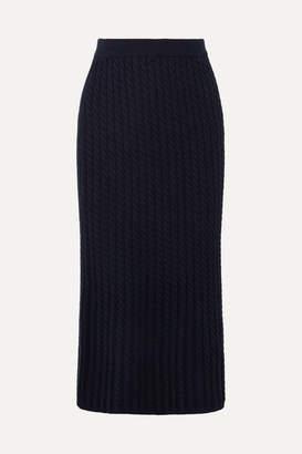 Alessandra Rich Cable-knit Cotton-blend Midi Skirt - Navy