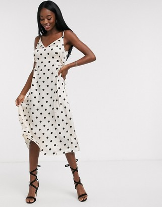 Outrageous Fortune midi slip dress with lace up side detail in cream polka