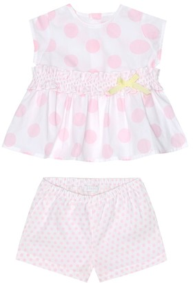 Il Gufo Baby polka-dot cotton dress and bloomers set