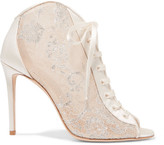 Jimmy Choo Freya Lace-up Metallic Embroidered-tulle And Satin Ankle Boots - White