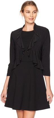 R & M Richards R&M Richards Women's 1 Piece Missy Stretch Cover Up with A Ruffle
