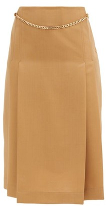 Victoria Beckham Belted Pleated Wool High-rise Skirt - Camel