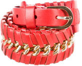 Oscar de la Renta Leather Chain-Link Waist Bely