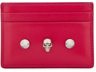Alexander McQueen Fuchsia Studded Leather Card Holder