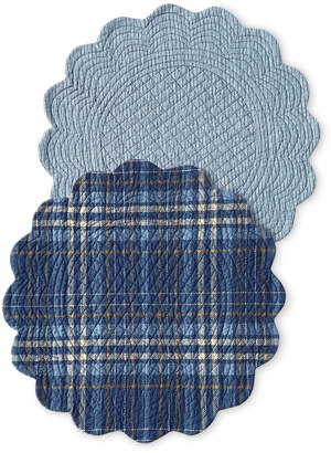C&F Home Anthony Navy Round Placemats, Set of 4
