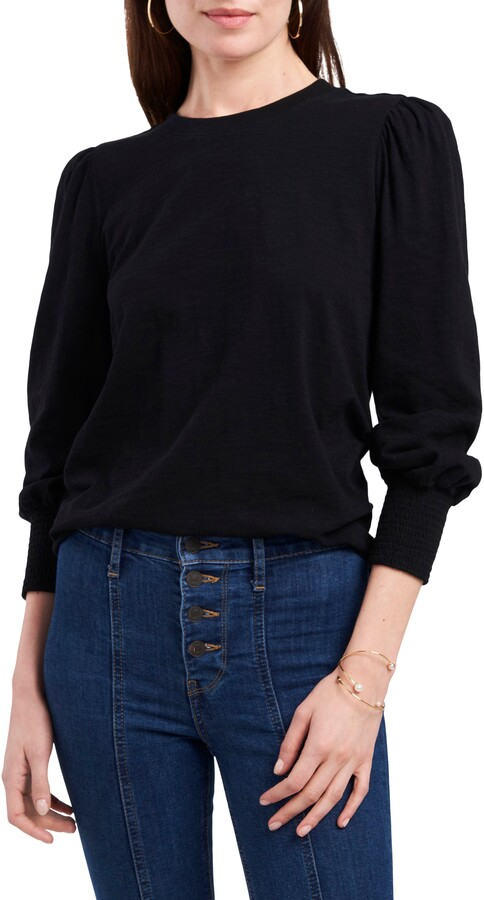 1 STATE Smocked Long Sleeve Top