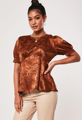 Missguided Rust Satin Jacquard Babydoll Top
