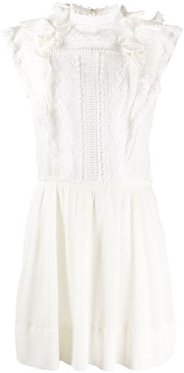 Isabel Marant Lace-Panel Ruffle Mini Dress