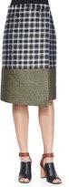 Suno Metallic Wrap Midi Skirt, Golden Plaid