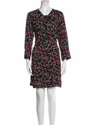 Anna Sui Floral Print Mini Dress Black