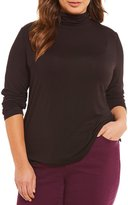 Allison Daley Plus Long Sleeve Turtle Neck Luxe Jersey Top