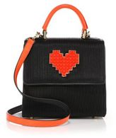 Les Petits Joueurs Alex Lolita Mini Pleated Leather Heart Satchel