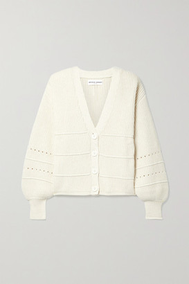 Apiece Apart Ana Pointelle-trimmed Cotton And Cashmere-blend Cardigan - Cream