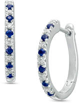 Zales Vera Wang Love Collection 1/8 CT. T.W. Diamond and Blue Sapphire Alternating Hoop Earrings in Sterling Silver
