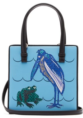 Loewe Postal Small Frog-applique Leather Bag - Blue Multi