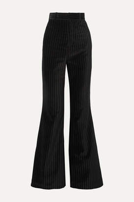 Situationist Pinstriped Cotton-velvet Flared Pants - Black