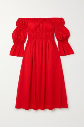 Cult Gaia Stella Off-the-shoulder Gathered Cotton-blend Satin Midi Dress - medium
