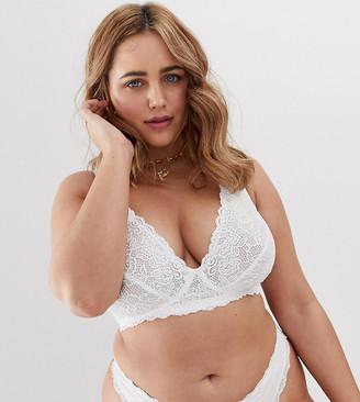 Dorina Plus Size Rosie lace wireless soft bra in white