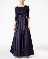 Jessica Howard V-Neck 3/4 Sleeve Lace Taffeta Ballgown - ShopStyle ...