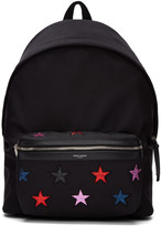 Saint Laurent Black And Multicolor Canvas Stars Backpack