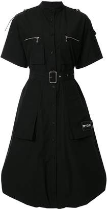 we11done curved hem belted shirt dress