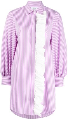 MSGM Ruffle Detail Striped Shirt Dress