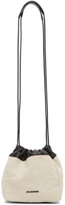 Jil Sander Off-White Canvas Small Drawstring Crossbody Bag