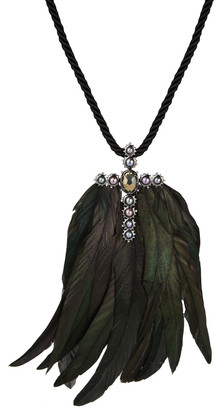Alexis Bittar Pearl And Feather Cross Pendant Necklace