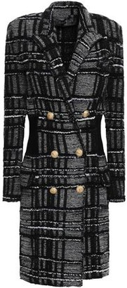 Balmain Double-breasted Checked Boucle-tweed Coat