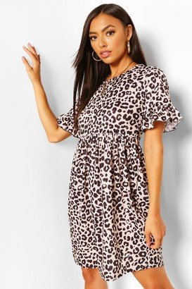 boohoo Mono Leopard Print Smock Dress